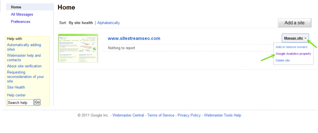 Choose a site to manage and select Google Analytics Property