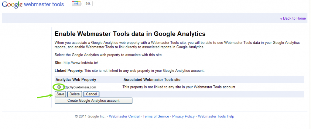 Choose the analytics to associate with this WMT account